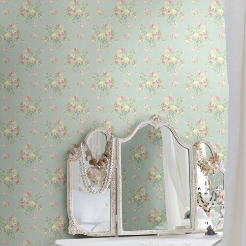 Brewster Home Fashions Springtime Cottage Floral Bouquet Wallpaper