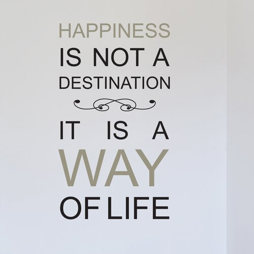 Brewster Home Fashions Euro Happiness Is Not A Destination Quote Wall Decal