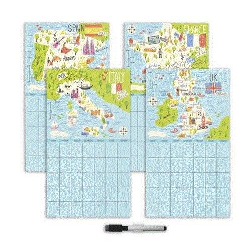 WallPops Bon Voyage 4 Piece Calendar Chalkboard Wall Decal Set