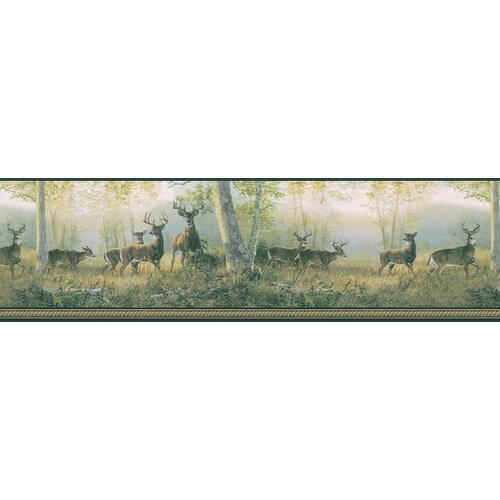 Brewster Home Fashions Northwoods Marvelous Scenic Deer Border Wallpaper
