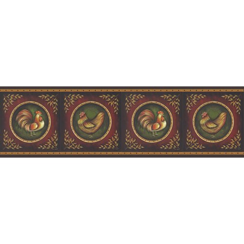Brewster Home Fashions New Country Rooster Cameo Border Wallpaper