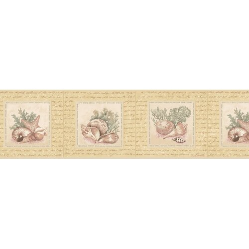 Brewster Home Fashions Destinations by the Shore Coral Shell Scrubbable Border Wallpaper