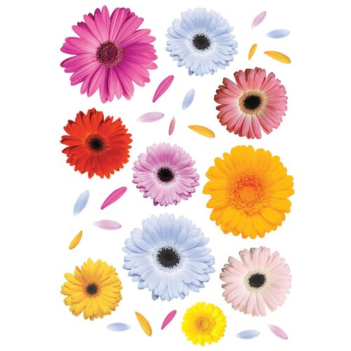 Brewster Home Fashions Euro Gerberas 28 Piece Wall Decal Set