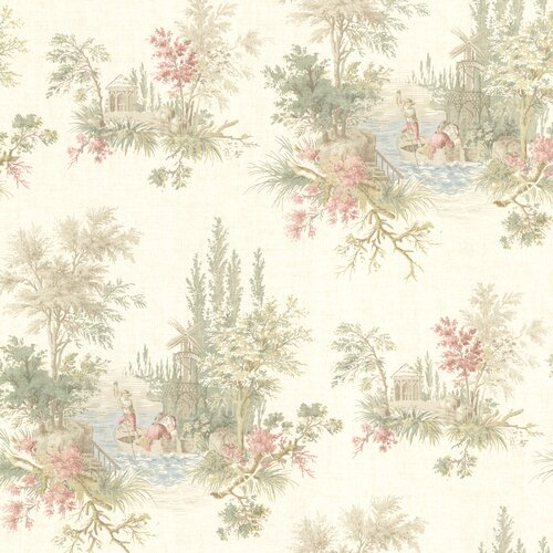Brewster Home Fashions La Belle Maison Pictorial Romance Toile Wallpaper