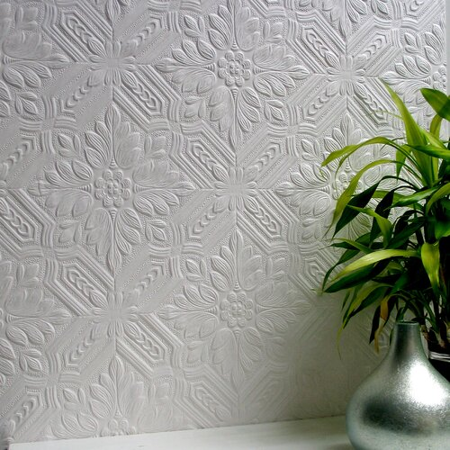 Brewster Home Fashions Anaglypta Paintable Howard Supaglypta Floral Embossed Wallpaper