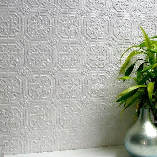 Brewster Home Fashions Anaglypta Paintable Derby Original Floral Embossed Wallpaper