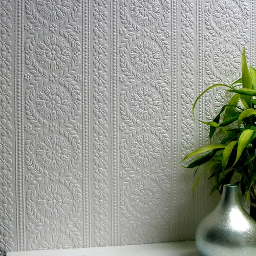 Brewster Home Fashions Anaglypta Paintable Townsend Anaglytpa Original Floral Embossed Wallpaper