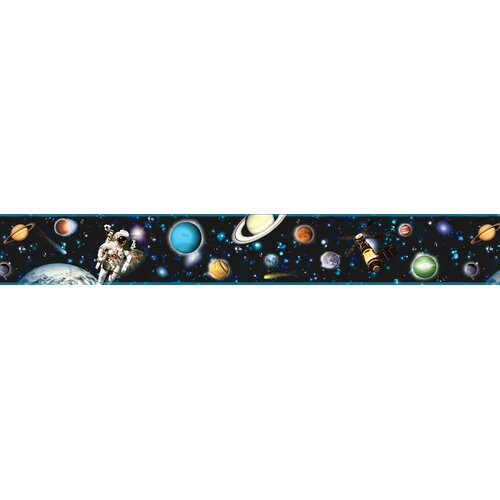 Brewster Home Fashions Kids World Buzz Aldrin Black Space Wallpaper Border