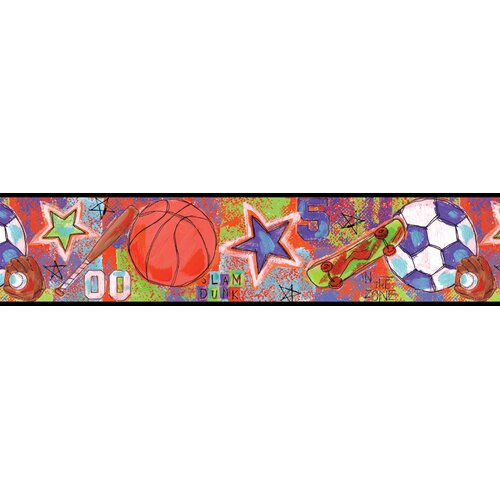 Brewster Home Fashions Kids World Sports Star Red Sports Wallpaper Border