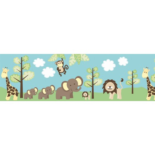 Brewster Home Fashions Kids World Jungle Friends Wallpaper Border