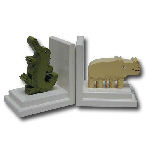One World Crocodile / Rhino Book Ends