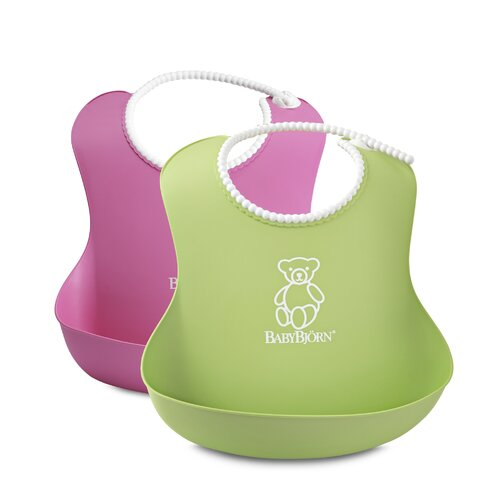 BabyBjorn Soft Bib in Pink / Green