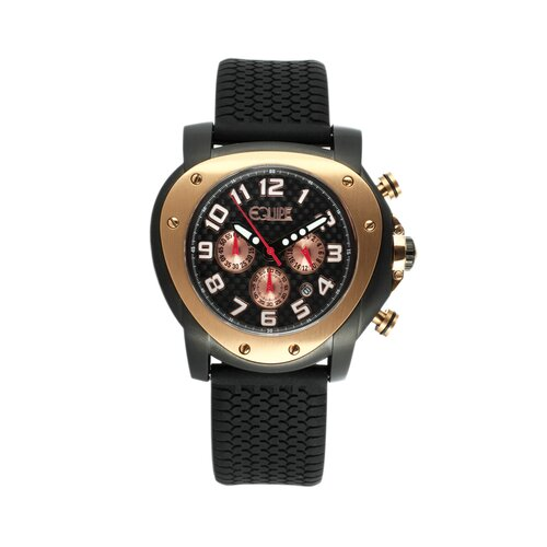 Grille Men's Watch with Black Case and Rose Gold Bezel