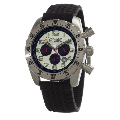 Headlight Men's Watch with Black Band and White Dial