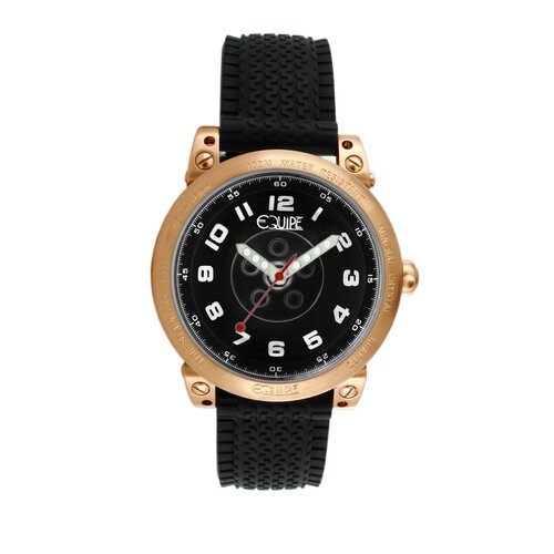 Hub Men's Watch with Rose Gold Case and Black Dial
