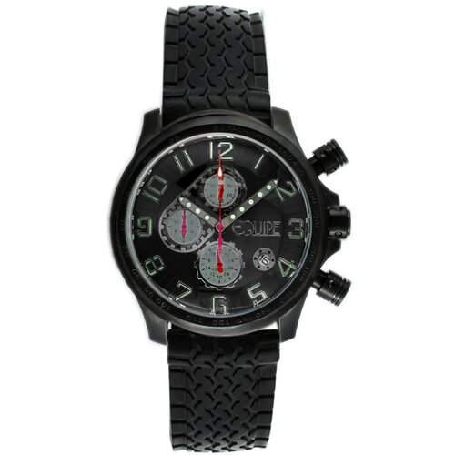 Hemi Men's Watch with Black Rubber Band and Silver Hand