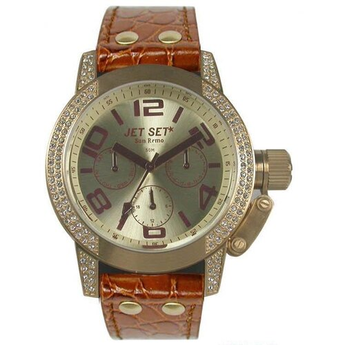 Jet Set San Remo Dame Ladies Watch with Camel Band and Gold Crystal Bezel
