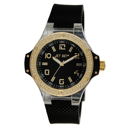 Jet Set Cannes Watch with Black Band and Gold Crystal Case