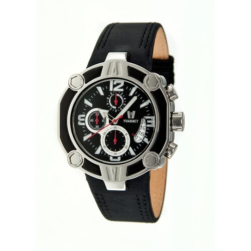 Snowest Circular Men's Watch with Black Leather Band and Black Dial