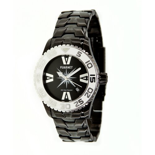 Vuarnet H2O Lady Ladies Watch with Black Steel Band and White Bezel