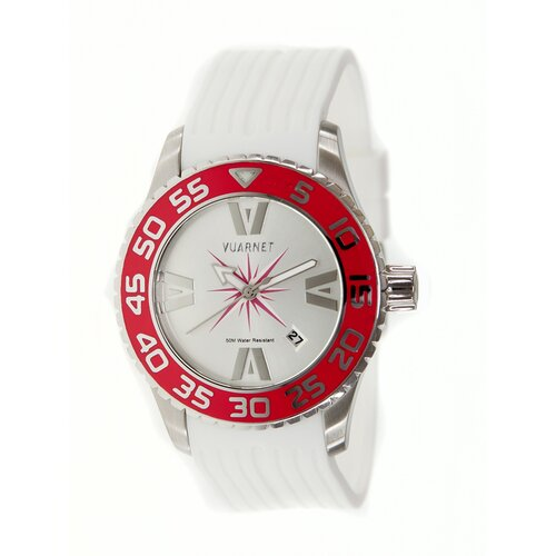 Vuarnet H2O Lady Ladies Watch with White Band and Red Bezel