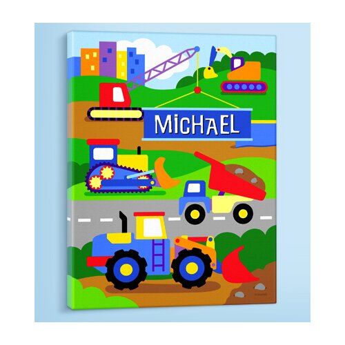 Olive Kids Under Construction Personalized Canvas Art