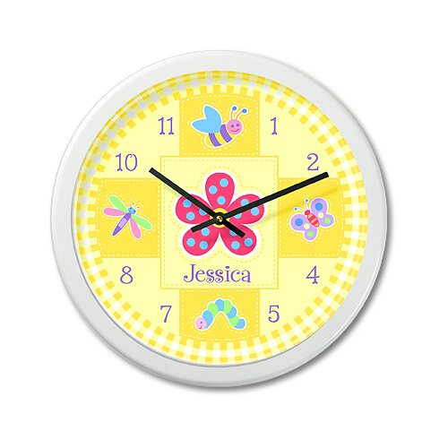 """Olive Kids Flower Land 12"""" Personalized Wall Clock"""