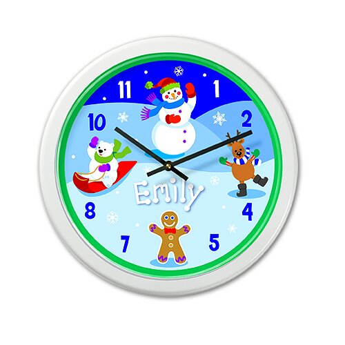 """Olive Kids Winter 12"""" Personalized Wall Clock"""