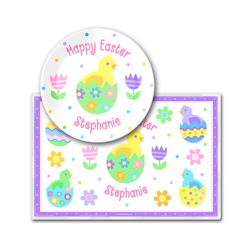 Easter Chicks Personalized Meal Time Plate Set