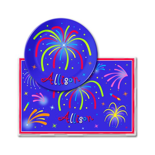 Olive Kids 4th of July Fireworks Personalized Meal Time Plate Set