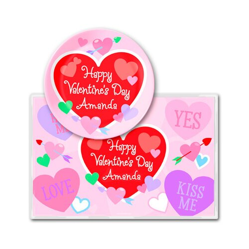 Olive Kids Valentine's Day Personalized Meal Time Plate Set