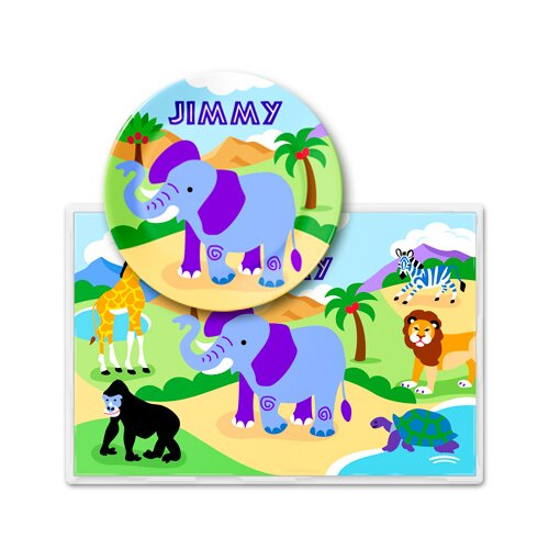 Olive Kids Wild Animals Personalized Meal Time Plate Set