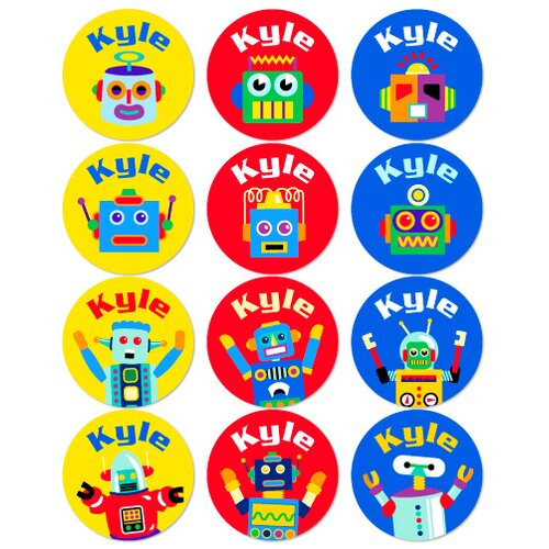 Olive Kids Robots Personalized Stickers