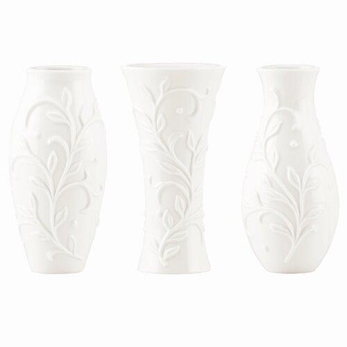 Lenox Opal Innocence Carved 3 Piece Small Vase Set
