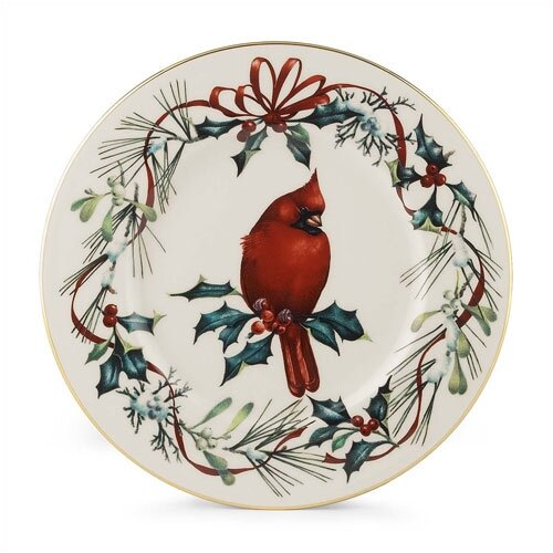 "Lenox Winter Greetings 9"" Cardinal Accent Plate"