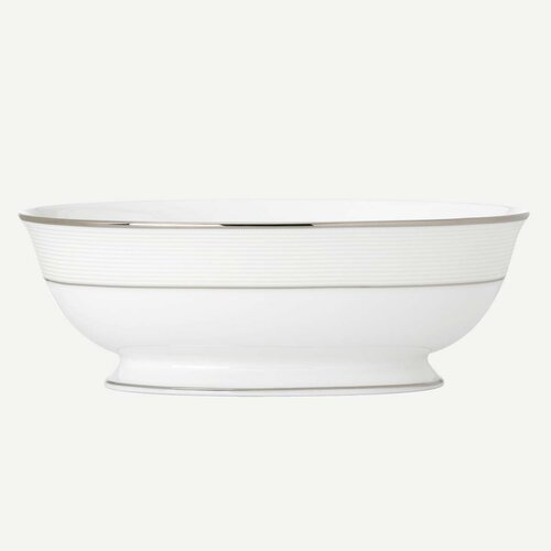 "Lenox Opal Innocence Stripe 9.5"" Open Vegetable Bowl"