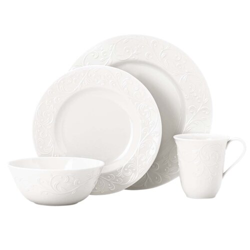 Lenox Opal Innocence Carved 4 Piece Place Setting