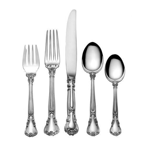 Sterling Silver Groham Chantilly 46 Piece Dinner Flatware Set