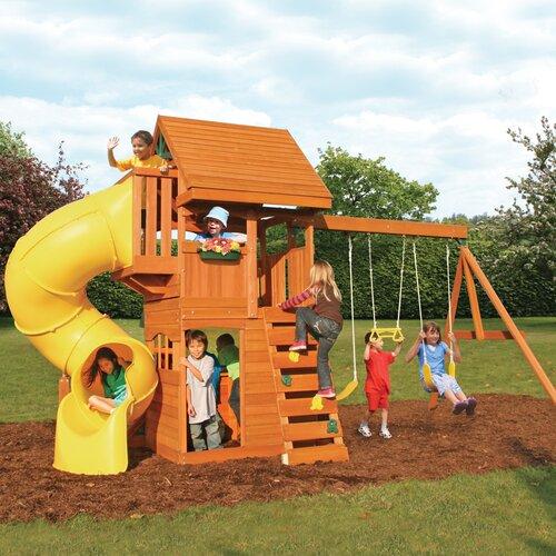 Huge Backyard Playsets : Big Backyard Cedar Summit Grandview Deluxe Wooden Play Set & Reviews