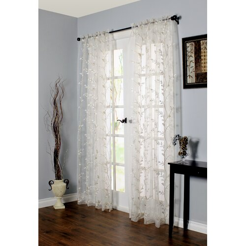 Commonwealth Home Fashions Embroidered Rod Pocket Curtain Single Panel