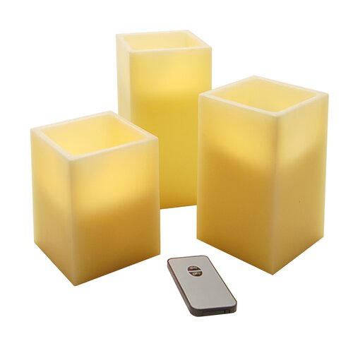 Wax LED Square Candle with Remote Control (Set of 3)