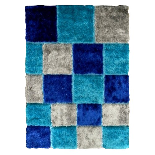 Flash Shaggy Blue Geometric Square Rug