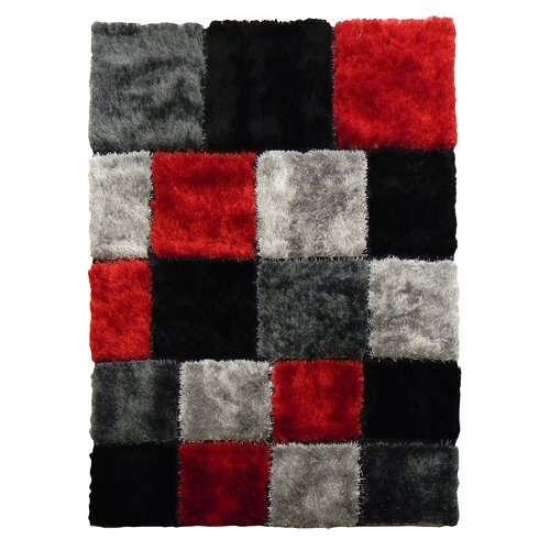 DonnieAnn Company Flash Shaggy Red Geometric Square Rug