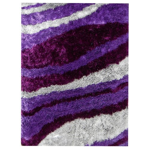 DonnieAnn Company Flash Shaggy Lilac Abstract Wave Rug