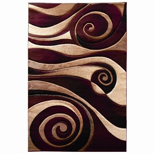 Donnieann Company Sculpture Burgundy Beige Abstract Swirl