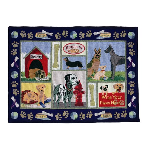 Park B Smith Ltd PB Paws & Co. Navy Dog Days Tapestry Rug