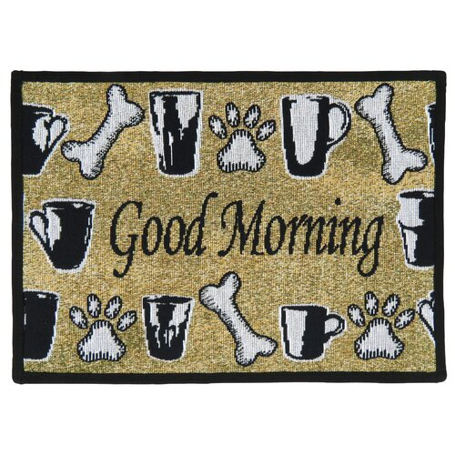 PB Paws & Co. Sand / Black Good Morning Tapestry Rug