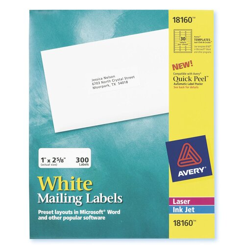 Avery 30 Labels 10 Sheets Mailing Label in White