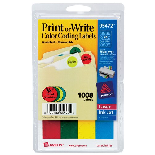 Avery 1008 Count Color Coding Label