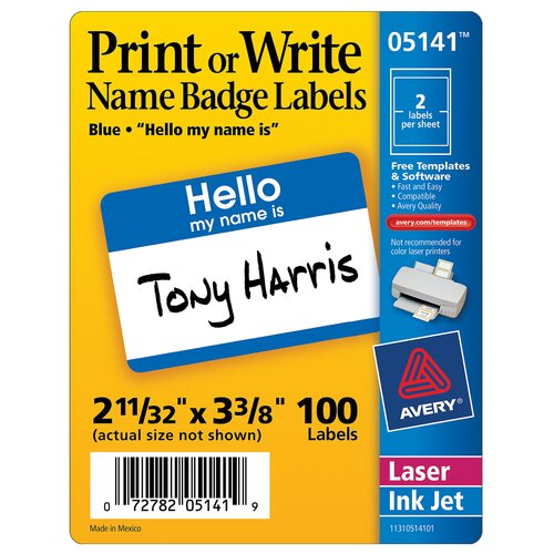 Avery 100 Count Name Badge Label